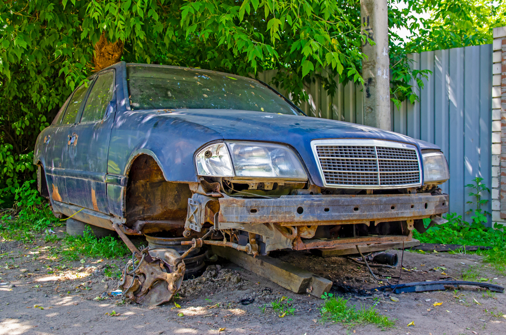 rusted junk car
